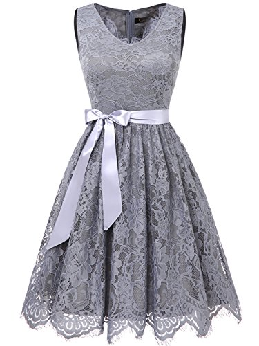 IVNIS RS90041 Women Floral Lace Bridesmaid Party Dress Short Prom Dress V Neck Grey L