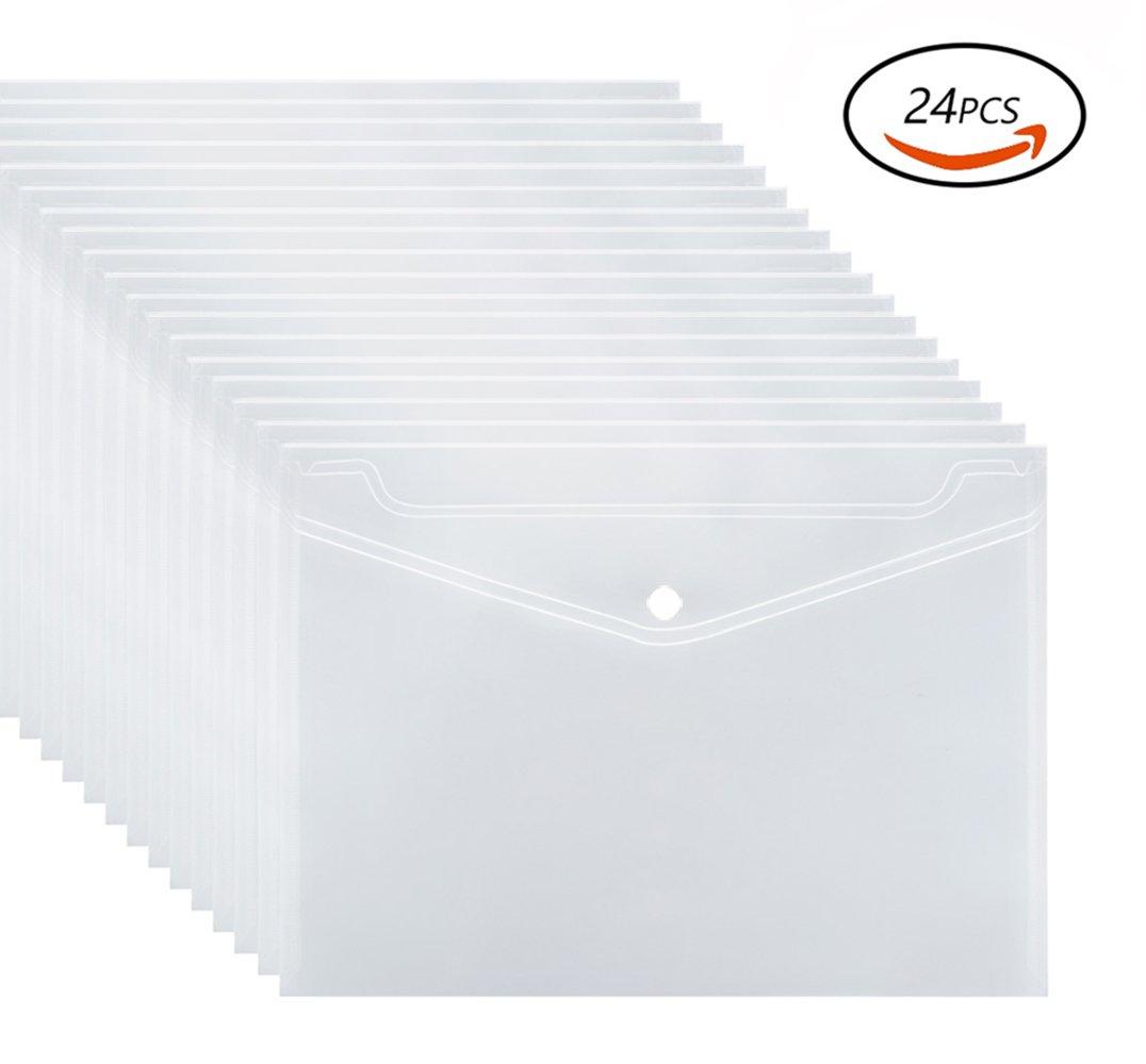 Transparent File Holder WXJ13 Plastic Envelopes with Snap Button Closure A4 Letter Size Envelope Folder, 24 Pieces