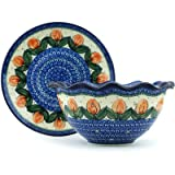 Polish Pottery Colander with Plate 9-inch Red Tulip Circle UNIKAT