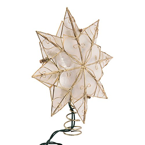 Kurt Adler Indoor 10 Light 8-Point Capiz Star Treetop with Arabesque Decoration (Light Tree Topper)