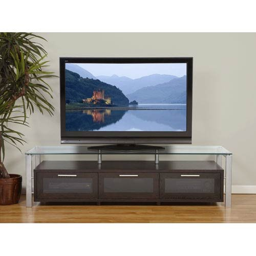 Plateau Decor 71 -S Wood and Glass TV Stand, Espresso