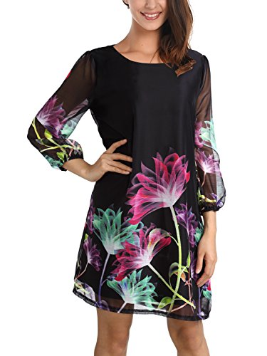 Chiffon Floral Tunic - DJT Women's Floral Pattern 3/4 Sleeve Loose Fit Chiffon Tunic Dress Small Black-3