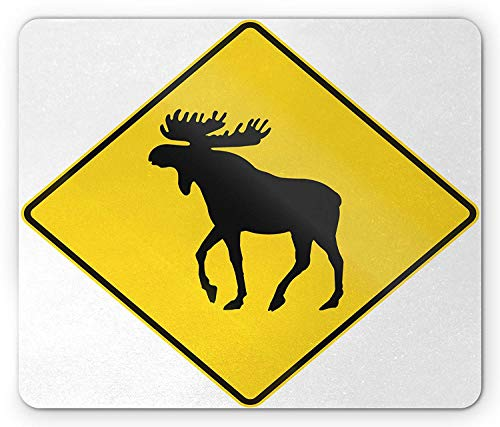 Moose Mouse Pad, Canadian Road Traffic Warning Sign with Elk Crossing Solitary Animals Print, Standard Size Rectangle Non-Slip Rubber Mousepad, Yellow and Black,8.66 x 7.08 x 0.118 Inches ()