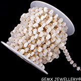 Gems-World Jewelry Natural White Rainbow Rondelle Rosary Chain,7-8mm Gold Plated Wire Wrapped Link