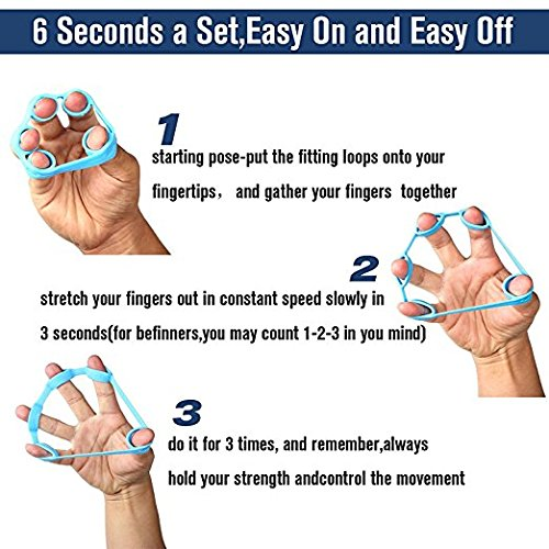 Finger Resistance Bands Finger Stretcher Relieve Wrist Pain Carpal tunnel Trigger Finger Mallet Finger and more Silica Gel Material | 3 Resistance Levels - Easy, Medium, Heavy