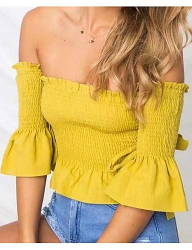 Bustier Femmes YFLTZ Couleur Unie Yellow en Blouse Coton de vOqwIq4x