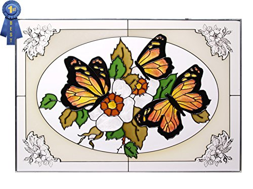 Silver Creek Butterflies, Art Glass - home wall art decor  - glass home