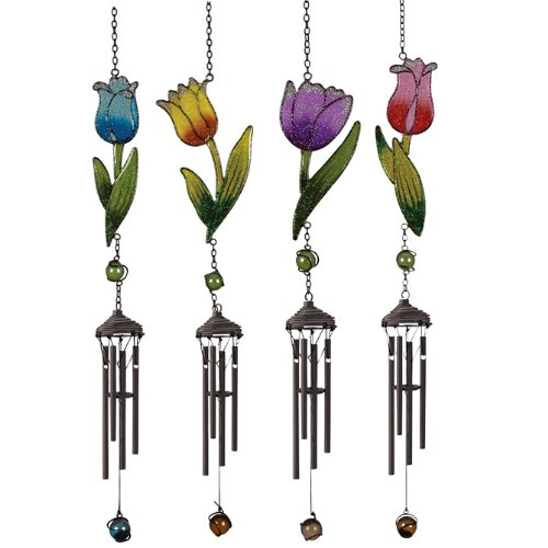 Carson Wind Chimes, Wireworks,Mini Tulip Chimes,Assorted 4,23