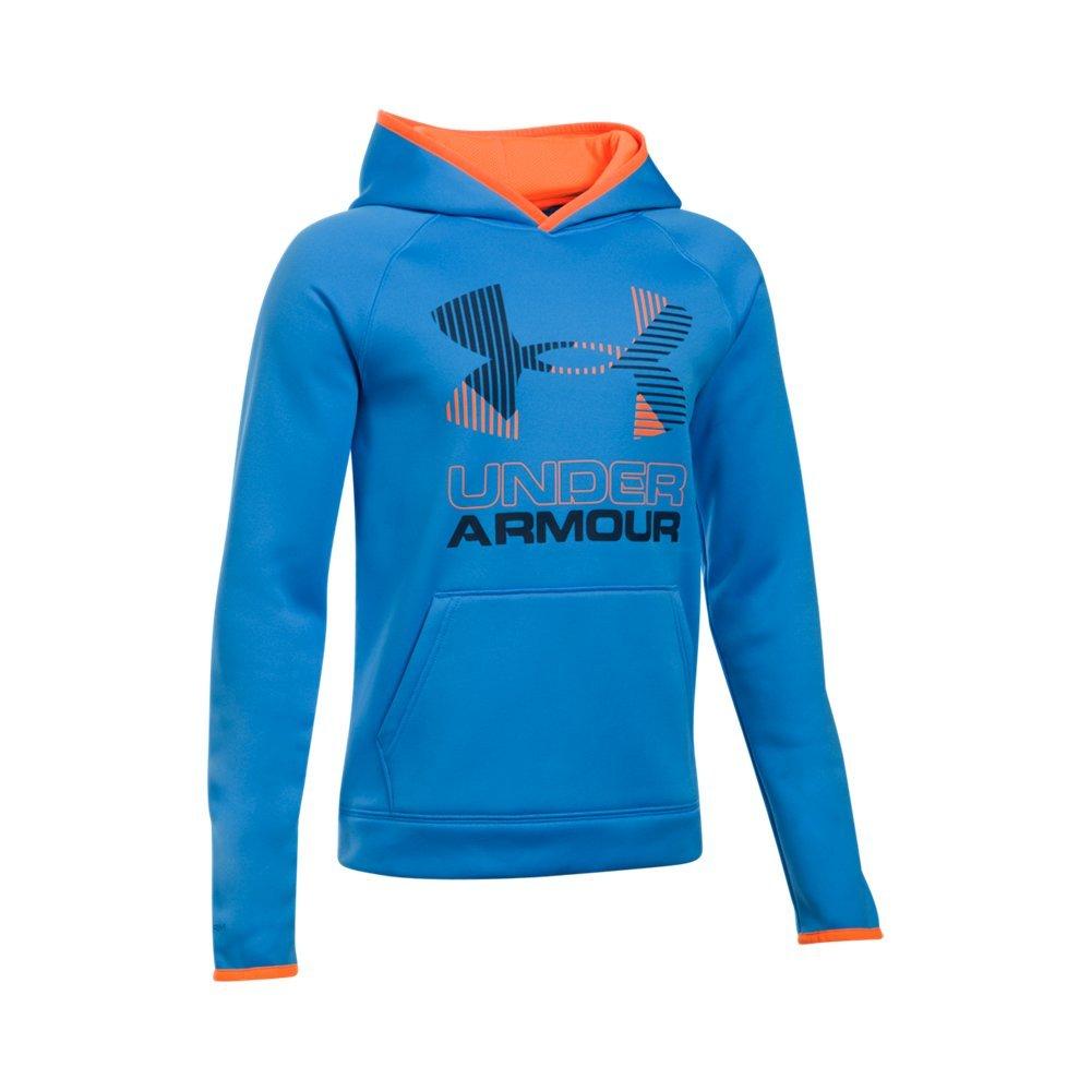 Under Armour Boys Scary Good Armour Fleece Solid Big Logo Hoodie, Mako Blue/Orange, X-Small / 7 Big Kids