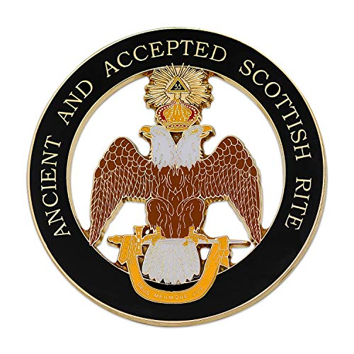 (33rd Degree Double Headed Eagle (Wings Down) Ancient & Accepted Scottish Rite Masonic Round Black Auto Emblem - 3