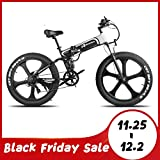 W Wallke Folding Aluminum Electric Bike 48V 10.4ah Removable Battery Fat Tire Snow Mountain Bike 750W Beach Cruiser Adult Assisted E-Bike Double Disc Hydraulic Brake (26 INCH, 26'' ebike)