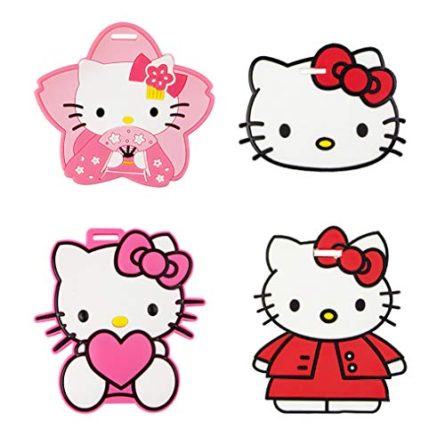 Hello Kitty Travel Luggage Tag for Bags with Adjustable Strap - Set of 4 ()
