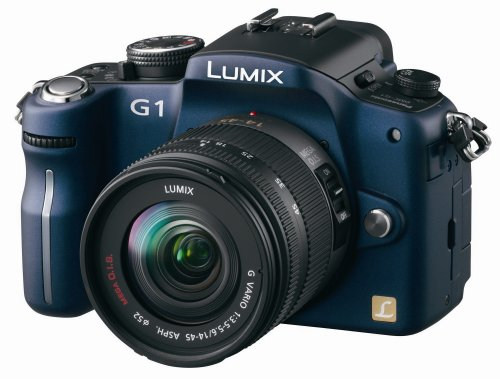 - Panasonic Lumix DMC-G1 12.1MP Digital Camera with Lumix G Vario 14-45 mm f/3.5-5.6 ASPH Mega OIS Lens (Blue)