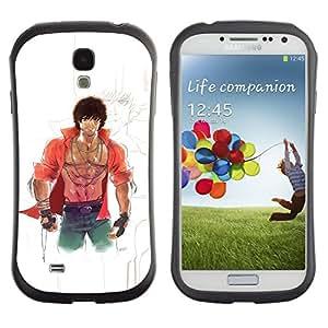 All-Round híbrido de goma duro caso cubierta protectora Accesorio Generación-I BY RAYDREAMMM - Samsung Galaxy S4 I9500 - Martial Arts Anime Character Boy Six Pack