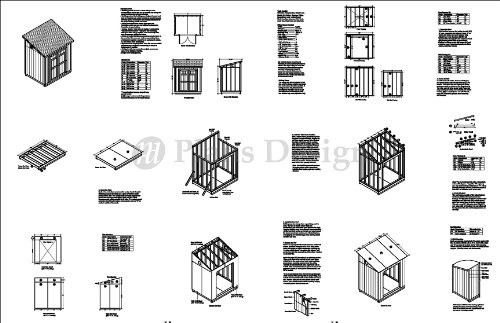6' x 8' Deluxe Shed Plans, Lean To Roof Style Design # D0608L, Material List and Step By Step Included