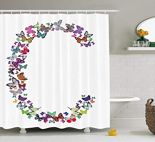 Makayla Riley Brief C Shower-Curtains, Natural Grace Inspired Theme Butterflies Fly Together Cool and Colorful Design, Cloth Bathroom Beautify Adornment Set with Hooks, (60W X 72L Inche),Waterproof A ()