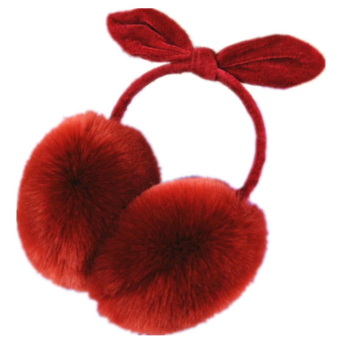 Women Sweet Plush Fluffy Adjustable Warm Faux Fur Bunny Rabbit Earmuffs
