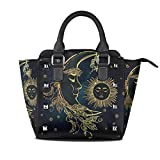 Use4 Women's Ethnic Sun and Moon Star Rivet PU Leather Tote Bag Shoulder Bag Purse