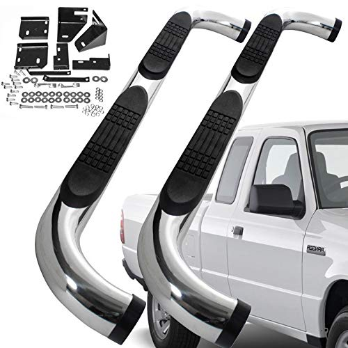 UFRAME Stainless Steel Polished Finish 3 inch Round tubing Curve End Side Step Nerf Bar Fits 1998-2011 Ford Ranger Super Cab (Extended Cab) 2 Full Size Front Door+2 Half Size Rear Door Models