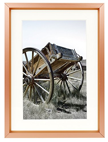 Golden State Art 5x7 Classic Satin Aluminum Landscape Or Portrait Table-Top Photo Frame With Ivort Color Mat For 4x6 Photo & Real Glass (Rose Gold) (State Landscape Frame Picture)