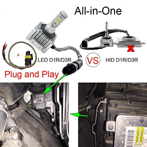 2pcs 2 Year Warranty 1x Pair AMUNIESUN D1S D1C D1R D3S D3C D3R All-In-One Conversion Kit LED Headlight Bulbs-High//Low Beam 110W 11000LM//set 6000K Cool White Replace OEM HID Xenon Bulbs