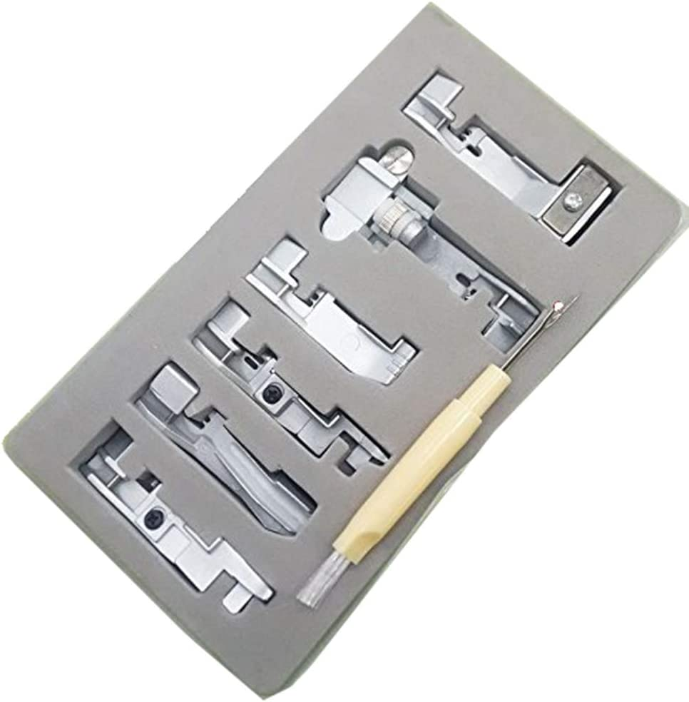 YICBOR 6pcs Overlock Serger Presser Foot Set for Singer 14CG754 14SH654 14SH754 14hd854 juki 644D?04D with Gift Brush Ripper