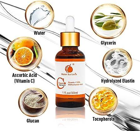 20% Vitamina C y Acido Hialuronico Serum,Reducir las arrugas y líneas finas, Facial Vitamina C Anti Edad, Anti Arrugas, Anti Manchas Serum (30ml)