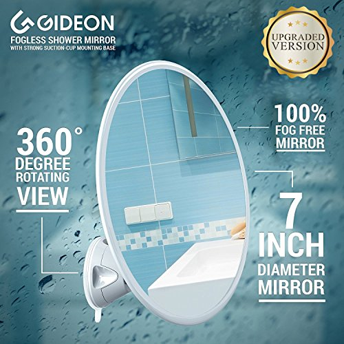 Gideon Fogless Shower Mirror with Powerful Suction-Cup Mounting Base - 7 Inch Diam., 360 Degree Rotating for Optimal View Position - For Shaving, Hairstyling and Makeup Application [UPGRADED VERSION] by Gideon