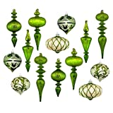 Set of 14 Large Christmas Tree Ornaments, Antique Green Stained Glass, Heirloom Quality