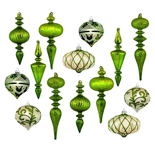 Set of 14 Large Christmas Tree Ornaments, Antique Green Stained Glass, Heirloom Quality by Langdon Mills (Image #5)