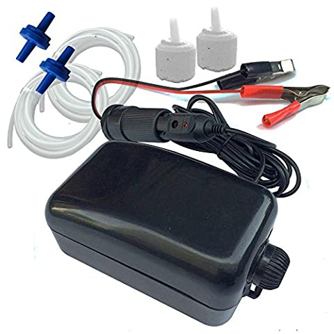 Roomax Whisper Aquarium Air Pump 12V with Check Valve for Boat Fishing Bucket Fish Farm with Car Charger & Storage Battery (Marine Battery Box Small)