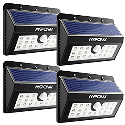 Mpow 20 LED Solar Lights, Bright Outdoor Security Lights with Motion Sensor Wireless Waterproof Lights for Garden, Wall, Path, Patio, Front Door, Deck, Yard, Driveway - 4 Pack