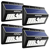 Mpow Solar Lights Outdoor, 20 LED Bright Motion Sensor Security Wall Lights with 3 Modes, Wireless Waterproof Night Lights for Garage Driveway Front Door Garden Path Patio Deck Yard Lighting - 4 Pack