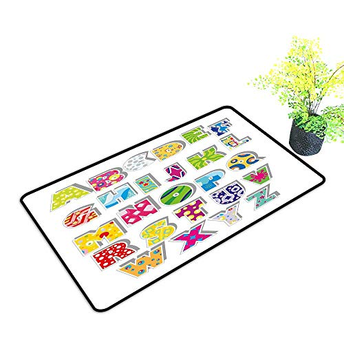 Washable Doormat Letters Full Set of Alphabet with Various Designs Abstract Dots Squares Splashes Pattern W35 xL59 Easy to Clean Multicolor]()