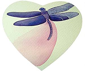 Abstract Paint heart-shaped mouse pad - Dragonfly