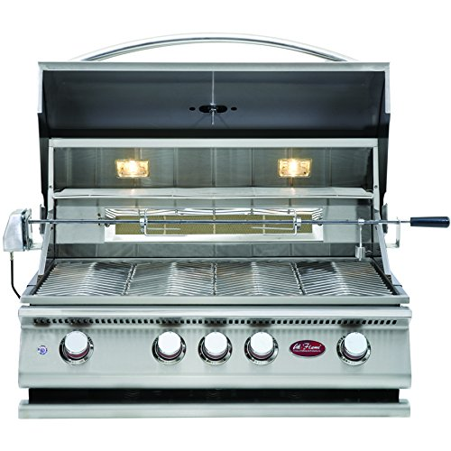Cal Flame BBQ13P04 BUILTIN GRILL P4 4-BURNER LP,32 inch 304 stainless steel,four15,000 BTU cast stainless steel burners,easy-start ignition system includes Cover,Rotisserie,Smoker box and Griddle tray,Builtin grill light