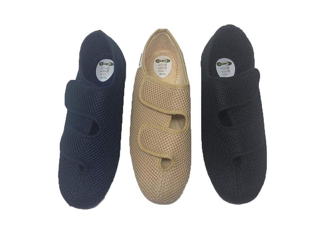 7890be70957a7 COSDAM Espadrilles Sandale Pantoufle Femme Largeur SPÉCIAL Fermeture Facile Couleur  Noire Talon 3cm Taille 40  Amazon.fr  Chaussures et Sacs