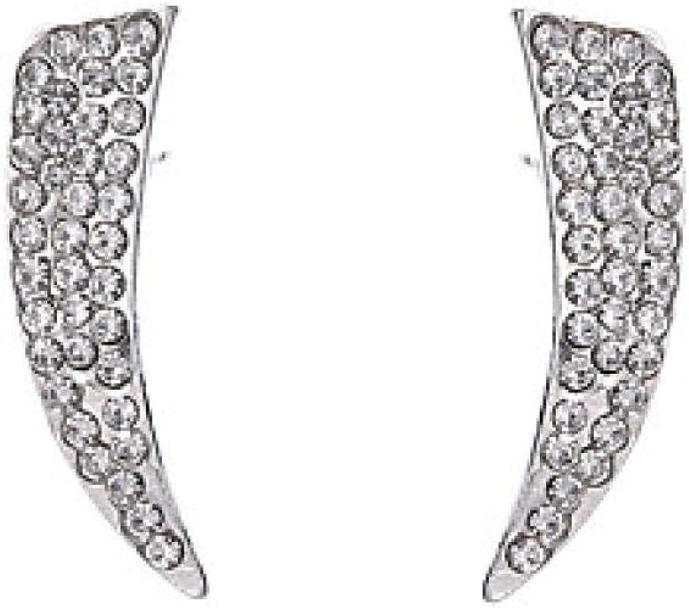 Pendientes de perlas geométricas de circonita cúbica para mujer Pendientes de diamantes de imitación Fase lunar Stardust Moda simple Joyería linda Plata para vacaciones Oficina y carrera 1 par