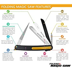 Pruning Folding Camping Saw is a Survival Heavy Duty Saw for Trim Rose Tree, Wood PVC Glass Bottles Tile a Universal Multi-Blades Work as Hacksaw Bow Rip Chain Handsaws & Foldable Knife Sharpener