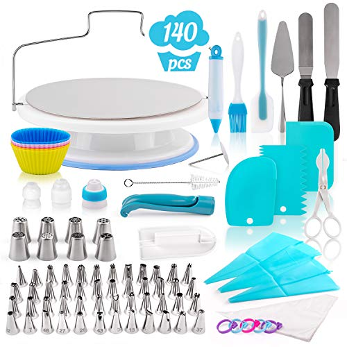 140-Piece Cake Decorating Kit – Silicone and Stainless Steel Baking Supplies & Dessert Making Tools – Bakeware Set with Turntable, Spatula, Russian Piping Tips Nozzles, Pastry Bags, Couplers, Scrapers