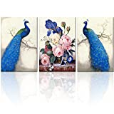 Visual Art Decor Elegant Blue Peacock Flowers Canvas Prints Wall Art Decoration Framed and Stretched Painting Prints Beautiful Picture Art for Modern Living Room Dining Room Wall Decal