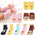 Fly-love® 5 Pairs 0-24 Months Baby Boys Girls Infant Toddler Anti Slip Skid Socks Animal No-Show Crew Ankle Cotton Non-Skid Floor boat Socks