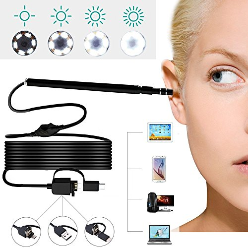 USB Ear Otoscope, Ear Digital Endoscope 3 in 1 Inspection Camera Ear Scope Earwax removal Cleansing Tool with 6 LED Lights 1.3 Megapixels 720P HD for Micro USB,USB-C Android Phone,Windows MAC PC by LittleGood