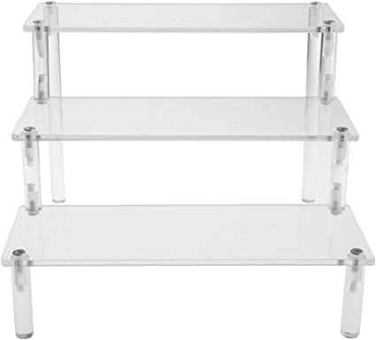 3 Tier Acrylic Removable Storage Rack Display Shelf Figures Display Holder