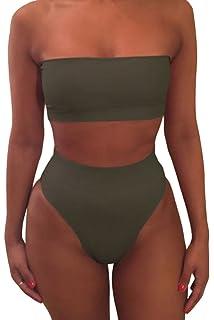 6e2e6342520e5 Pink Queen Women s Removable Strap Wrap Pad Cheeky High Waist Bikini Set  Swimsuit