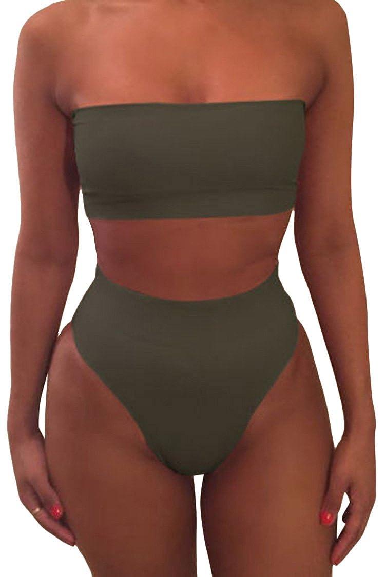 a7f67c53e64ae Amazon.com  Pink Queen Women s Removable Strap Wrap Pad Cheeky High Waist  Bikini Set Swimsuit  Clothing