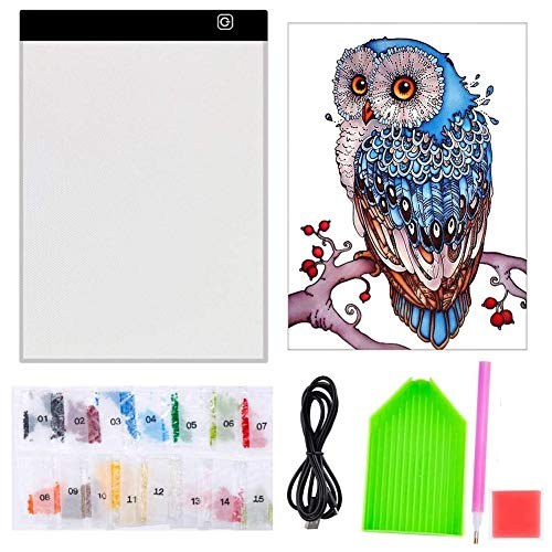 5D Diamond Painting Full Drill with A4 LED Light Pad Light Board Kits for Adults Kids Starters(Diamond Painting Kits)