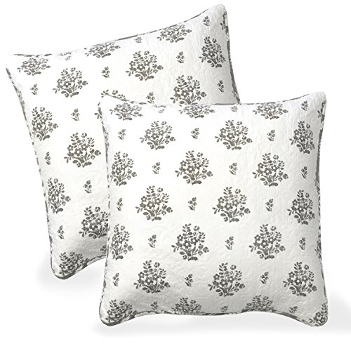 DriftAway Rina Floral Vintage-inspired Reversible Decorative Cotton Euro Pillow Shams,Set Of 2, Quilted Throw Pillow Sham Cushion Cover for bed,sofa or Bench. 26″x26″ (Gray/Taupe/Greige)