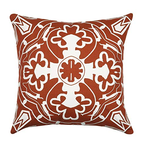 Light & Pro Square Printed Cotton Cushion Cover,Throw Pillow Case, Outdoor Cushion Covers,Slipover Pillowslip for Home, Sofa, Couch,Bed, Chair Back Seat, Set of 4-18x18 inch - Rust - Only Cover - VALUE PACK:Each pillow cover size is 18x18 inch/45x45cm (0.5-1cm deviation). Package contains only Pillow Cover and no inserts included. STYLE : Four different patterns make the entire pillow cover full of fashion and illuminate your home. CONSTRUCTION : The pattern of the cushion covers same on both side. The invisible zipper is easy to placement and removal. - patio, outdoor-throw-pillows, outdoor-decor - 51ESuF4q6dL -