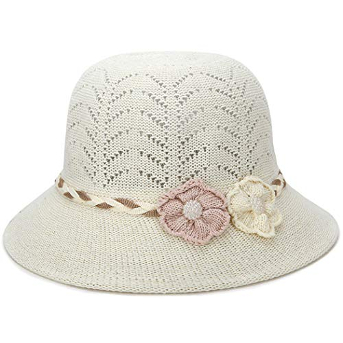 Queen Area Hollow Woven Cool Hat Middle-Aged Ladies Pink and Brown Flowers Hat Visor Breathable Flower Hat Rice White